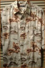 "PURITAN Men's 100% Rayon Hawaiian Shirt (L) Hibiscus & Island Huts 50"" chest"