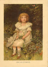 Child And Butterflies, Flowers, Vintage, 1904 Antique Art Print, Very Cute !