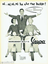 PUBLICITE ADVERTISING 076 1957 Scooter Vespa avec Gilbert Bécaud