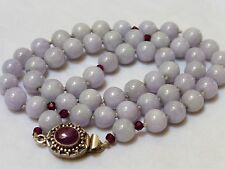 CHINESE VINTAGE GRADE A LAVENDER JADE RUBY NECKLACE, RUBY SILVER CLASP 70 GRAMS