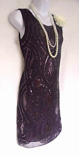 1920'S STYLE PURPLE GATSBY VINTAGE LOOK CHARLESTON SEQUIN FLAPPER DRESS SIZE 10
