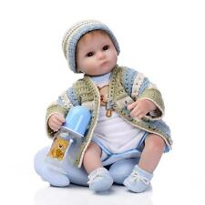 Nicery Reborn Baby Doll Soft Silicone 18in. 45cm Toy Blue Green Eyes Open