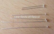 "2 NEW SOLID STERLING SILVER HEAD PINS FOR JEWELLERY MAKING/ REPAIRS 2"" LONG 925"