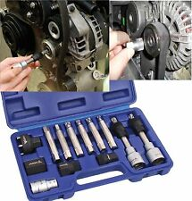 13 Pc Bosch Type Alternator Pulley Car Garage Tool Bit Kit Hex Spline Star Bits