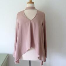 LAVISH ALICE NUDE TOP WITH CHOKER COLLAR AND DROPPED HEM, SIZE 12