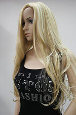 "2016 New fashion women""s light blonde mix long wavy cosplay  wig"