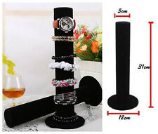Black Velvet Watch Bangle Bracelet Jewelry Display Stand Holder Rack hanging