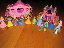 Disney Parks MagiClip Princess Castle Polly Pocket 10 Doll 2 Carriage Lot Merida
