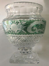 Exquisite Bohemian Czech Art Glass Crystal Green Cut to Clear Pedestal Bowl