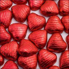 100 RED FOIL CHOCOLATE LOVE HEARTS WEDDING FAVOURS VALENTINES