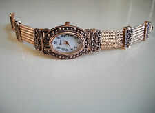 Vintage Look Bracelet Marcasite Antique Special Occasion Oval Rose Gold Watch