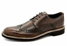Trussardi Collection Mens EU 43 UK 9 Brown Andria Italian Leather Brogue Shoes