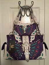 Cowgirl Trendy PURPLE Western Butterfly Concealed Carry Handbag/Matching Wallet