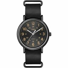 Brand New TIMEX Men's Weekender Oversized Black Leather Watch T2P494