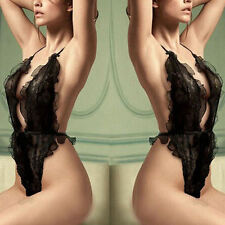 Ladies Sexy Black Sheer Lace Backless Teddy Sleepwear Lingerie S UK 8-10