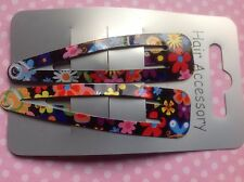 NEW 2 BLACK FLORAL FLOWER RETRO PRINT MULTICOLOUR METAL HAIR CLIP SLIDE SLEEPIES