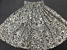 "NEW OFF WHITE AND BLACK HAWAIIAN PAU PA'U HULA SKIRT TRIBAL TAPA PRINT 28"" LONG"