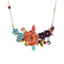 LES NEREIDES BLOOMED ROSE, CARDINAL AND FLOWERS NECKLACE