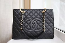 VERIFIED Authentic Chanel Black Caviar Leather GST GHW Grand Shopping Tote Bag