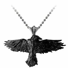 Official Alchemy Gothic Black Raven Pendant - Necklace Silver Crow England