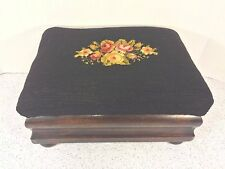 Antique Mahogany Footstool w/ Needlepoint Top Wafer Legs