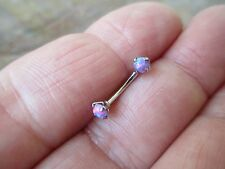 Purple Lab Opal Internally Threaded Curved 16G (1.2mm) Eyebrow or Rook Piercing