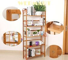 superb Bamboo 5 Tier Bookshelf, Children Bookcase/Magazine Case 67x28x150