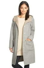 668 NEW EILEEN FISHER Hooded Coat,2X,Double Face,Alpaca,Moon,Knee Length,NWT