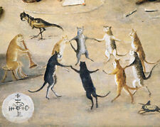 Vintage Dancing Cats Animal Music Concert Painting 8x10 Real Canvas Art Print