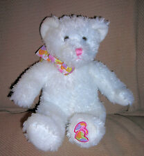 APPLAUSE  plush WHITE BEAR  with  HEARTS    ITEM #69828       SITS: 9 INCHES