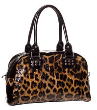 Banned Leo Varnished Crocodile Leopard Rockabilly Ladies Handbag Bag Brown Black