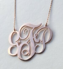 Handmade Personalised Monogram Necklace 18K Rose Gold Plated 2 ''(1mm thickness)