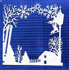 NEW LARGE WINTERTIDE SCENE FRAME  DIE CUTS - WHITE CHRISTMAS TOPPER-SNOW TREE