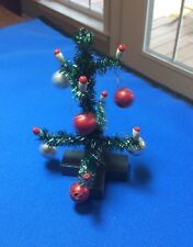 """VINTAGE STYLE MINIATURE FEATHER CHRISTMAS TREE - BALLS ORNAMENTS CANDLES 4"""" New"""