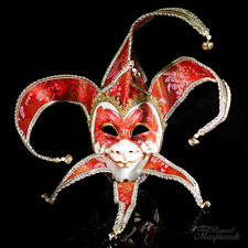 Mens Full Face Venetian Fabric Masquerade Theater Jester Mask [Red/Gold]