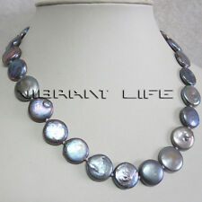 """18"""" 13-14mm Dark Gray Coin Freshwater Pearl Necklace Strand Jewelry UE"""