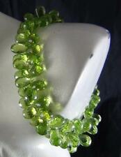 """140Cts NATURAL UNTREATED PERIDOT FACETED DROP / BRIOLETTE BEADS BRACELET 7""""  140"""