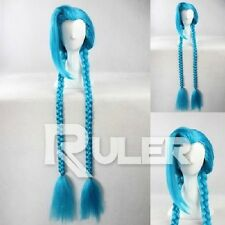 League of Legends Loose Cannon Jinx Blue 130cm Long Costume Cosplay Wig +CAP