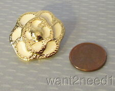 70s vtg French couture WHITE ENAMEL CAMELLIA FLOWER BUTTON 30mm goldplate metal