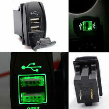 Car UTV Boat 12V&24V Green LED Dual USB Charger Backlit Rocker Switch Waterproof