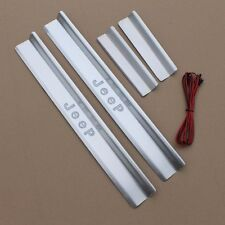 Stainless LED Door Sill Scuff Plate Guards Cover For Jeep Wrangler JK 2007-17 4D