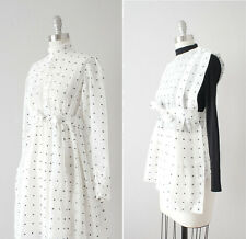 Antique 1910s Edwardian Sheer Dotted White Cotton Dress and Apron Set