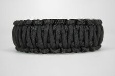 550 Paracord Survival Bracelet King Cobra Solid Black Camping Military Tactical
