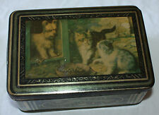 Vintage Biscuit Tin Cats Dog Cookie Box