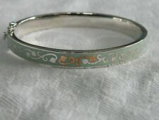 Clogau Silver & Welsh Gold Tree of Life Duck Egg Blue Enamel Bangle RRP £350.00