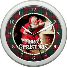 "Christmas Wall Clock Vintage Santa Claus 1 Scene Plaid 10"" Holiday Gift Xmas"