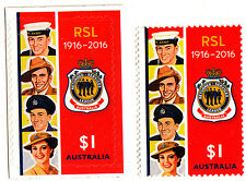 Australia 2016 RSL Centenary 1916 - 2016 - 2 stamps S/A and Sheet Varieties MNH