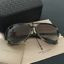 BOTTEGA VENETA Womens Aviator Sunglasses Horn Green Platic Gradients Lens BV184S