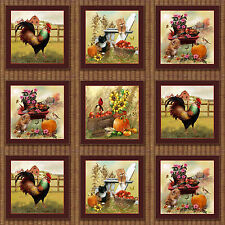 Autumn Bounty Panels Rooster Cats Autumnal Cotton Quilting Fabric - 28 Panels