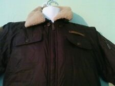 Akademiks Small Men's Brown Removable Faux Fur Quilted 6 Pocket Bomber Jacket